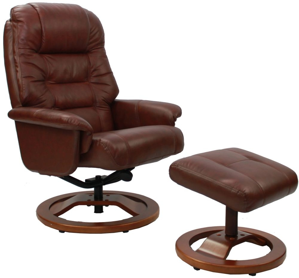 GFA Venus Chestnut Leather Swivel Recliner Chair