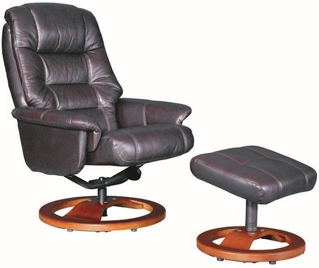 GFA Venus Red Wine Leather Swivel Recliner Chair
