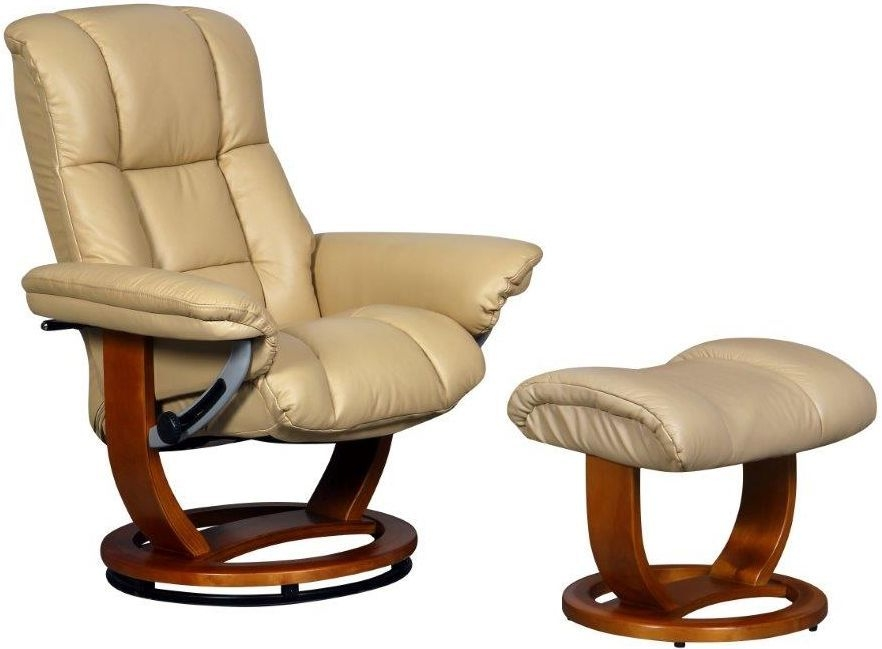GFA Windsor Grande Cream Leather Swivel Recliner Chair