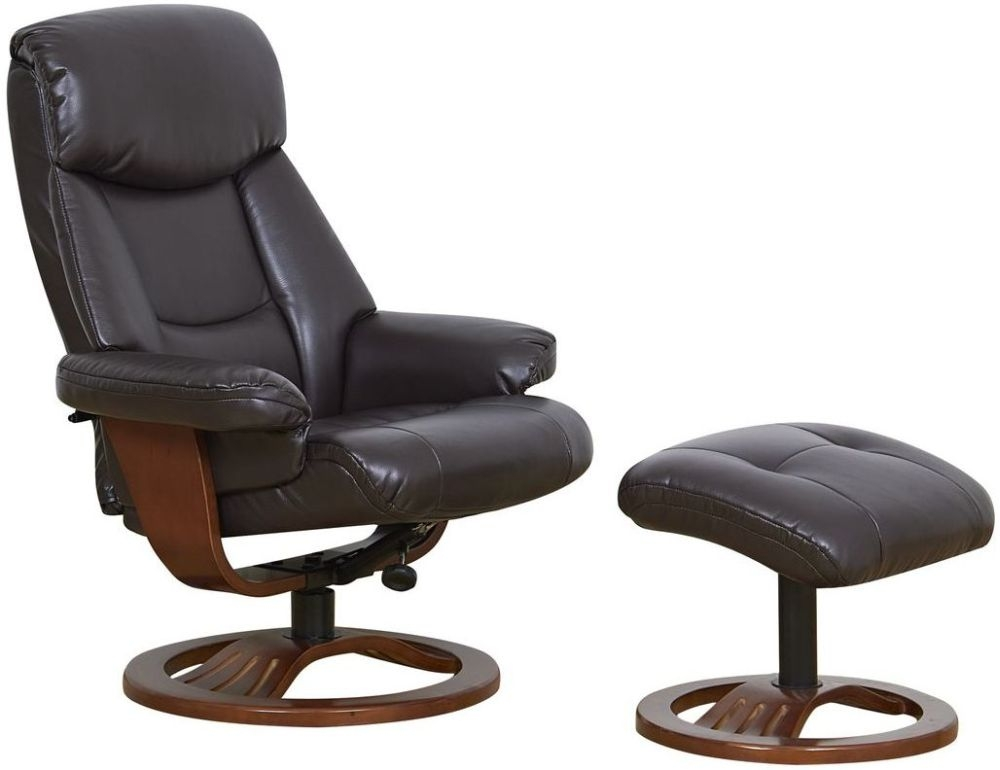 GFA York Chocolate Bonded Leather Swivel Recliner Chair