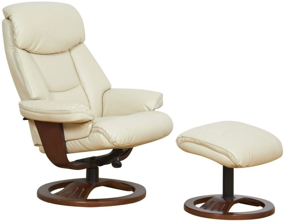 GFA York Cream Bonded Leather Swivel Recliner Chair