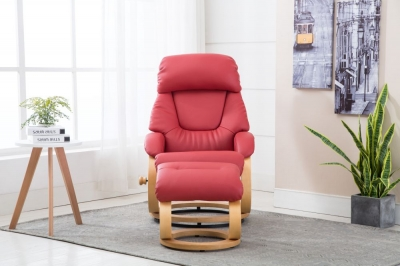 GFA Livia Swivel Recliner Chair with Footstool - Cherry Plush Fabric