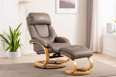 GFA Livia Swivel Recliner Chair with Footstool - Grey Plush Fabric