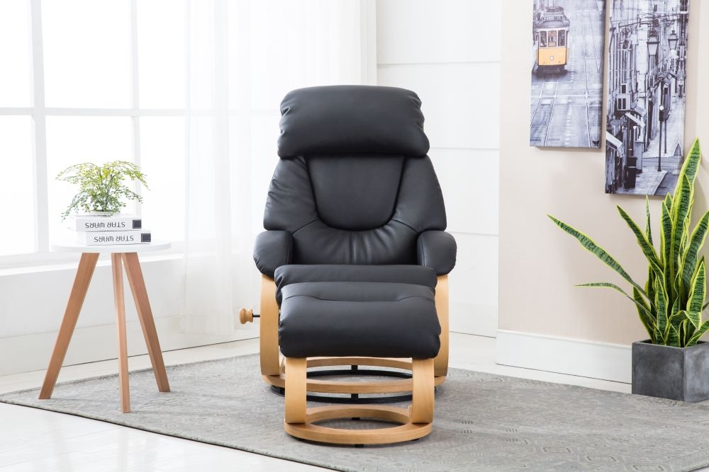 GFA Livia Swivel Recliner Chair with Footstool - Black Plush Fabric