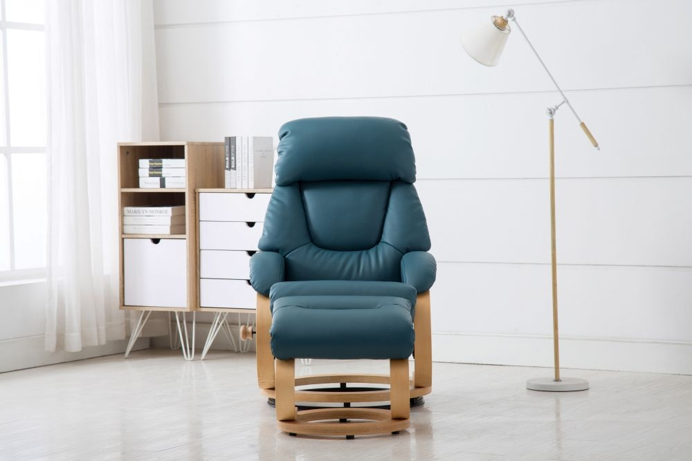 GFA Livia Swivel Recliner Chair with Footstool - Lagoon Plush Fabric