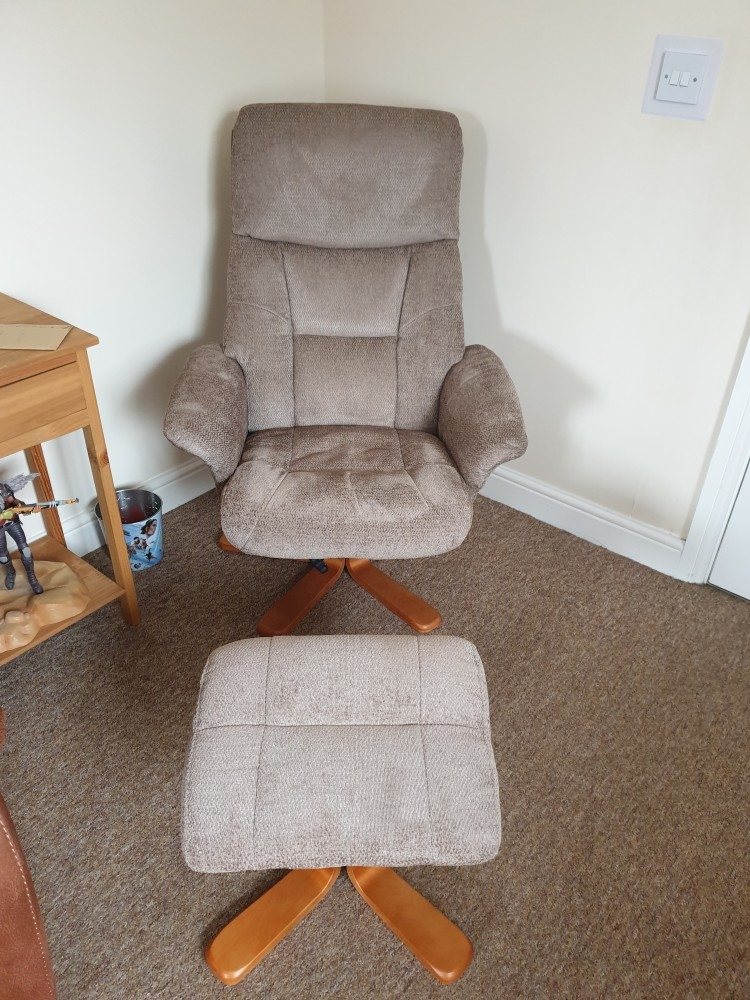 GFA Marseille Swivel Recliner Chair with Footstool Mink Fabric