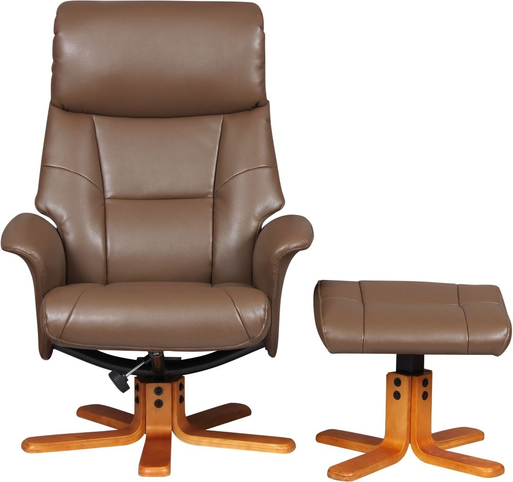 GFA Marseille Swivel Recliner Chair with Footstool Truffle Faux Leather