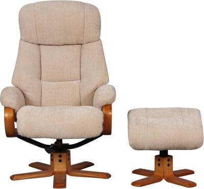 GFA Nice Swivel Recliner Chair with Footstool - Dune Fabric