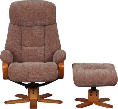 GFA Nice Swivel Recliner Chair with Footstool - Fawn Fabric