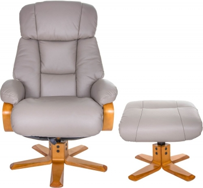 GFA Nice Swivel Recliner Chair with Footstool - Pebble Leather Match