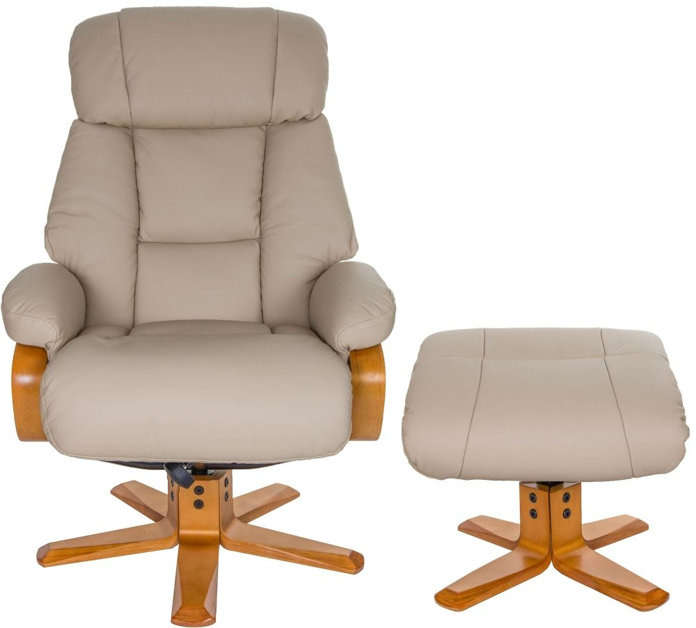 Gfa Nice Swivel Recliner Chair With Footstool Ivory