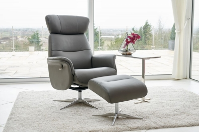 GFA Panama Swivel Recliner Chair with Footstool - Charcoal Leather Match