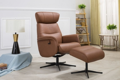 GFA Panama Swivel Recliner Chair with Footstool - Tan Leather Match