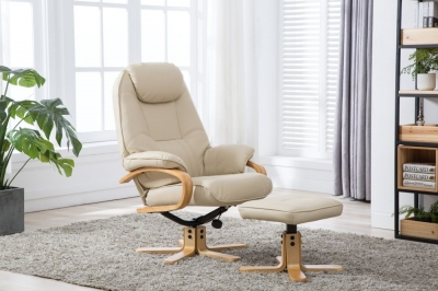GFA Pisa Swivel Recliner Chair with Footstool - Cream Plush Fabric