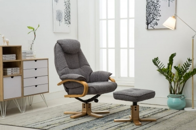 GFA Pisa Swivel Recliner Chair with Footstool - Lisbon Grey Fabric