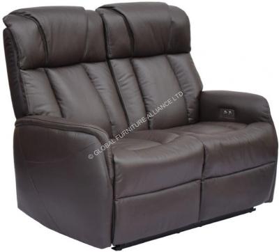 GFA Sorrento 2 Seater Espresso Leather Recliner Sofa