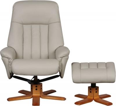 GFA St Tropez Swivel Recliner Chair with Footstool - Bone Plush Fabric