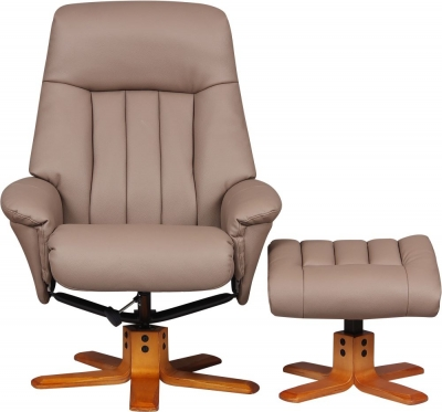 GFA St Tropez Swivel Recliner Chair with Footstool - Earth Plush Fabric