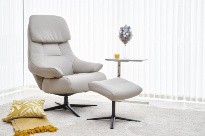GFA Sydney Swivel Recliner Chair with Footstool - Light Grey Leather Match Fabric