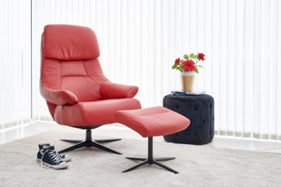 GFA Sydney Swivel Recliner Chair with Footstool - Red Leather Match Fabric