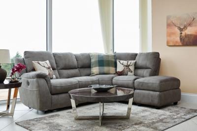 GFA Virginia Left Hand Corner Fabric Recliner Sofa - Rhino