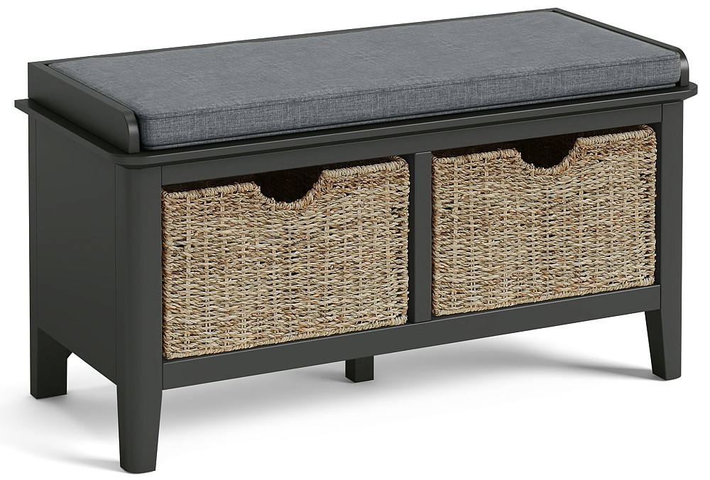 Global Home Arundel Charcoal Painted Storage Bench