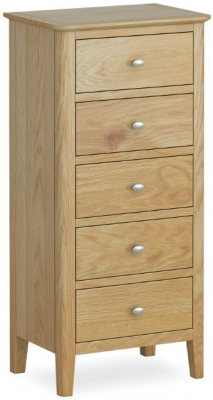 Bath Oak 5 Drawer Tallboy Chest