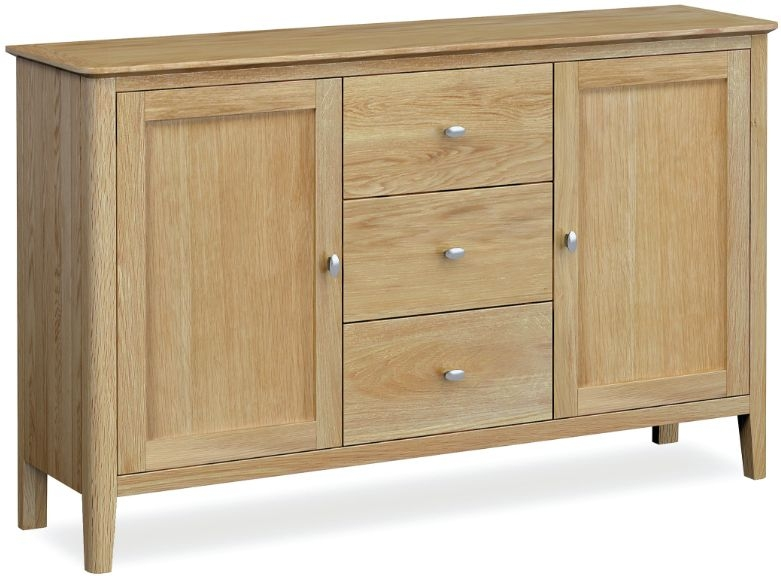 Global Home Bath Oak 2 Door 3 Drawer Wide Sideboard