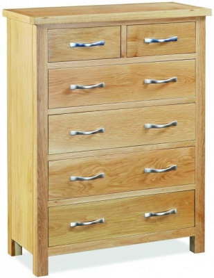 Global Home Burlington Oak Chest Of Drawer   2 Over 4 Drawer