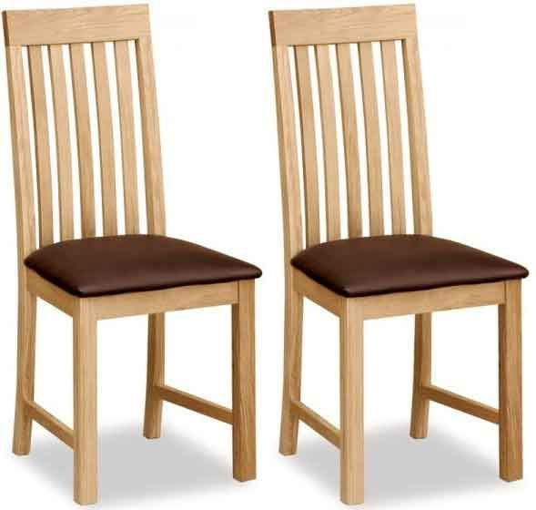 Global Home Burlington Oak Dining Chair - Vertical Slatted (Pair)