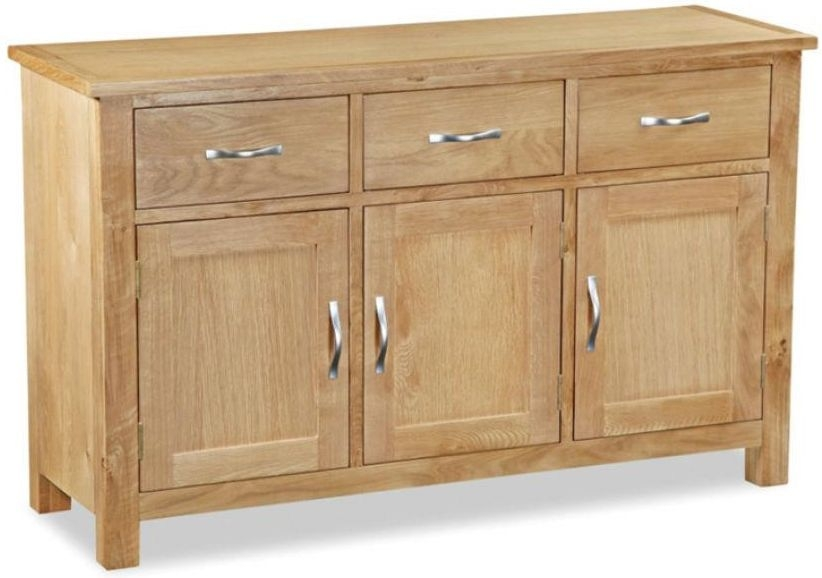 Global Home Burlington Oak 3 Door 3 Drawer Wide Sideboard