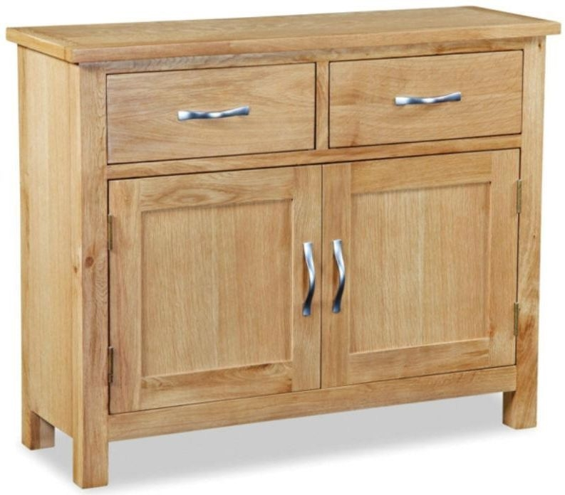 Global Home Burlington Oak 2 Door 2 Drawer Small Narrow Sideboard