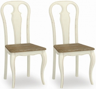 Global Home Charlotte Painted Dining Chair with Wooden Seat (Pair)