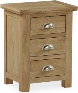 Global Home Cheltenham Oak Bedside Cabinet - Wide