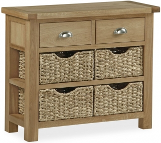 Global Home Cheltenham Oak Console Table - 2 Drawer with 4 Baskets