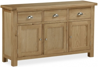 Global Home Cheltenham Oak Sideboard - Large Medium 3 Door 3 Drawer
