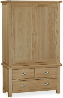 Global Home Cheltenham Oak Wardrobe - Gents with 3 Drawer