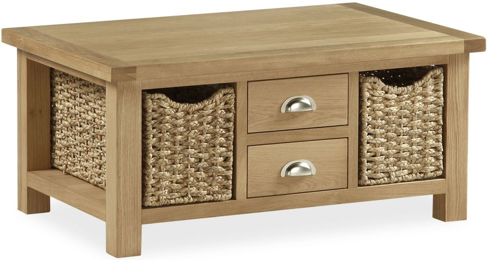 Global Home Cheltenham Oak Coffee Table - Large with Baskets