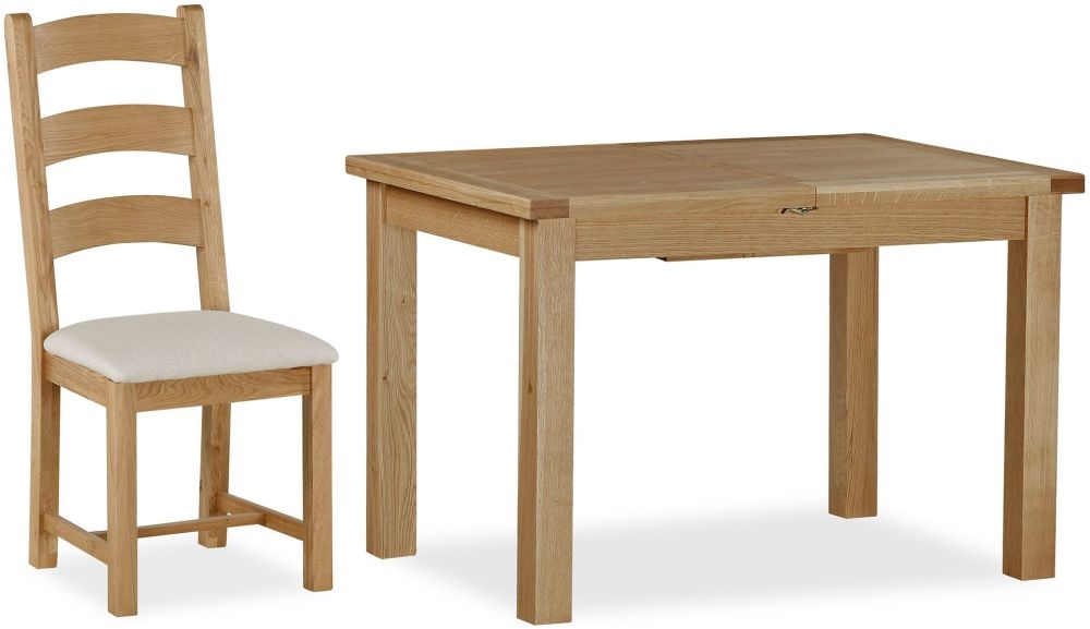 Global Home Cheltenham Oak Dining Set - Small Butterfly Extending with 6 Chairs