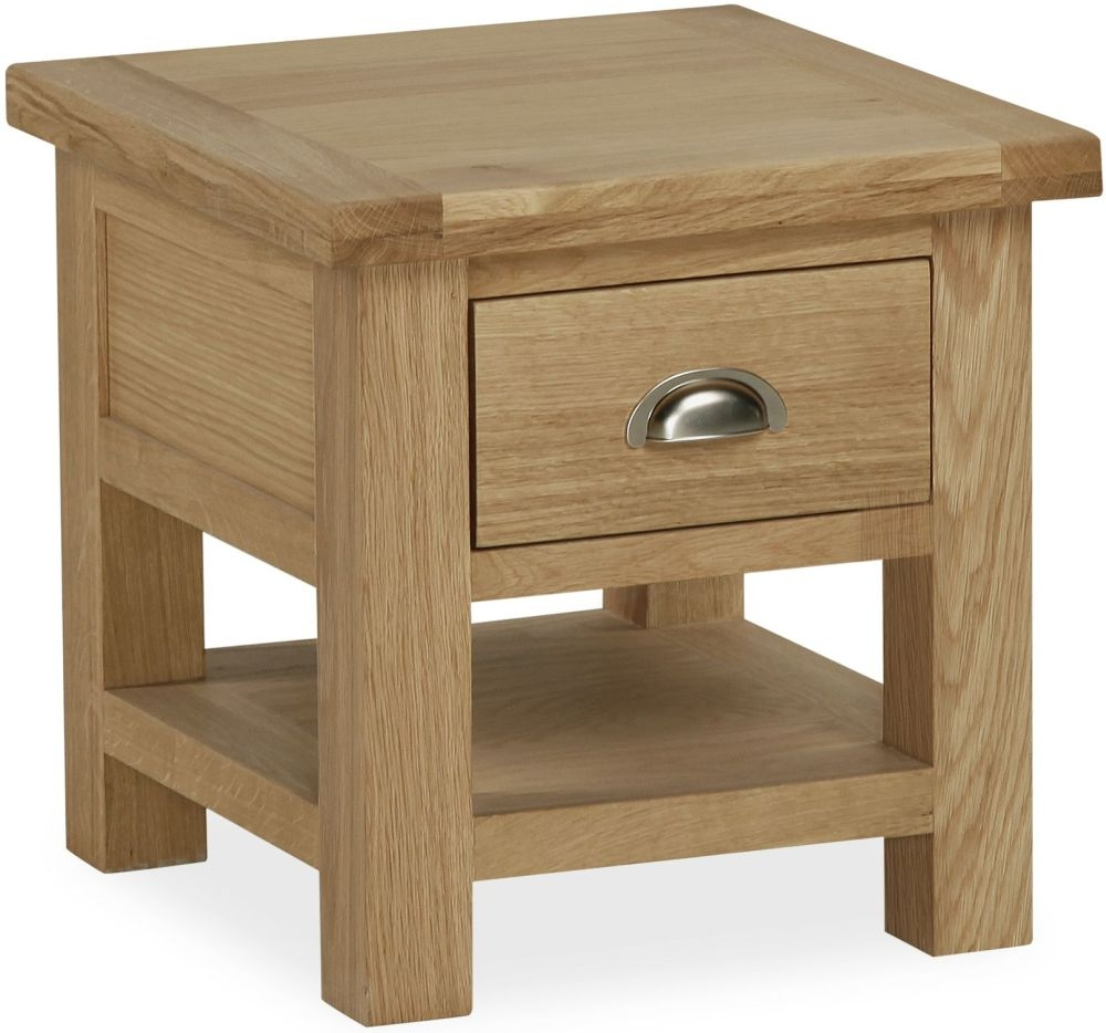 Global Home Cheltenham Oak Lamp Table with Drawer