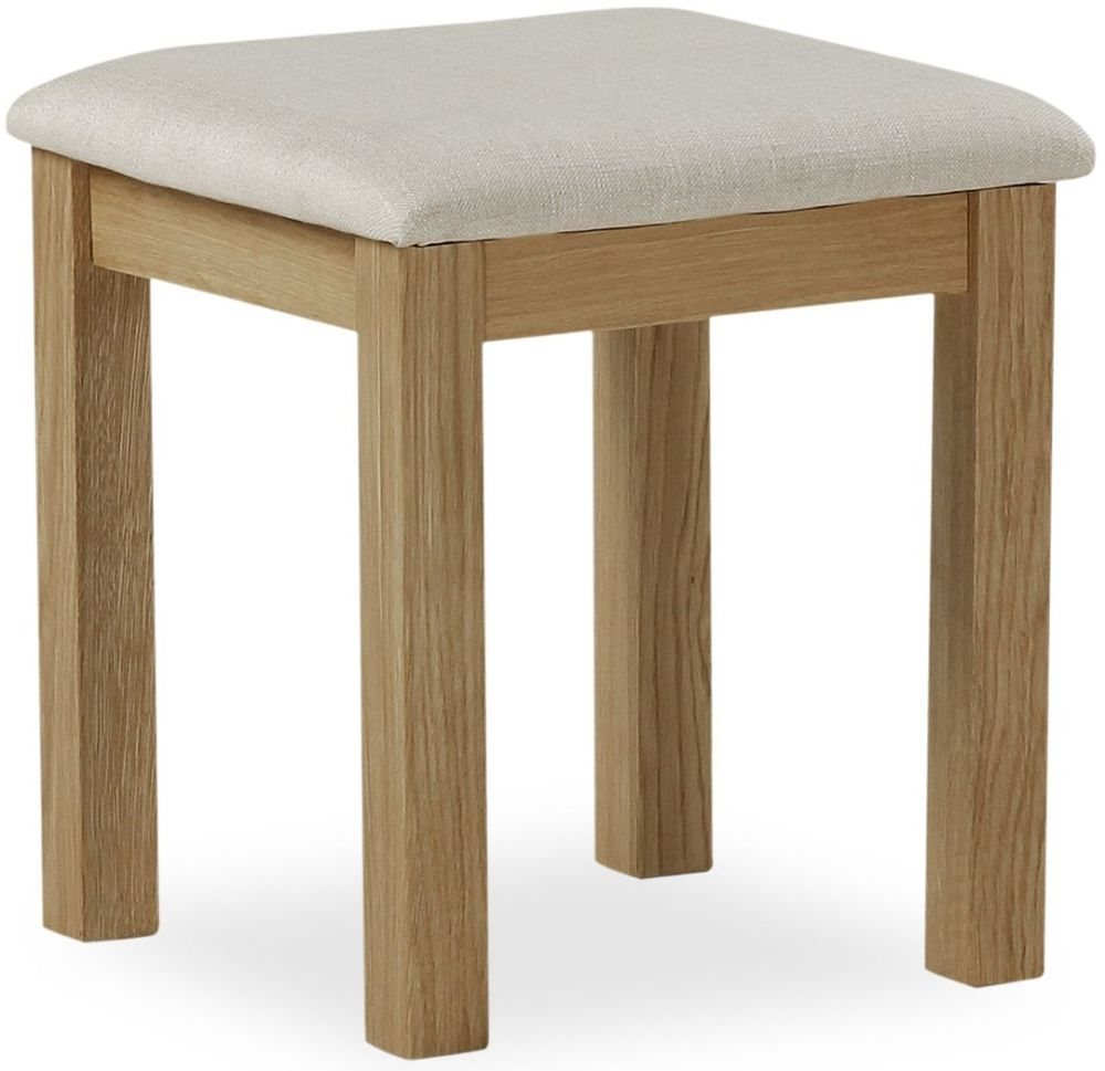 Global Home Cheltenham Oak Stool with Fabric Seat