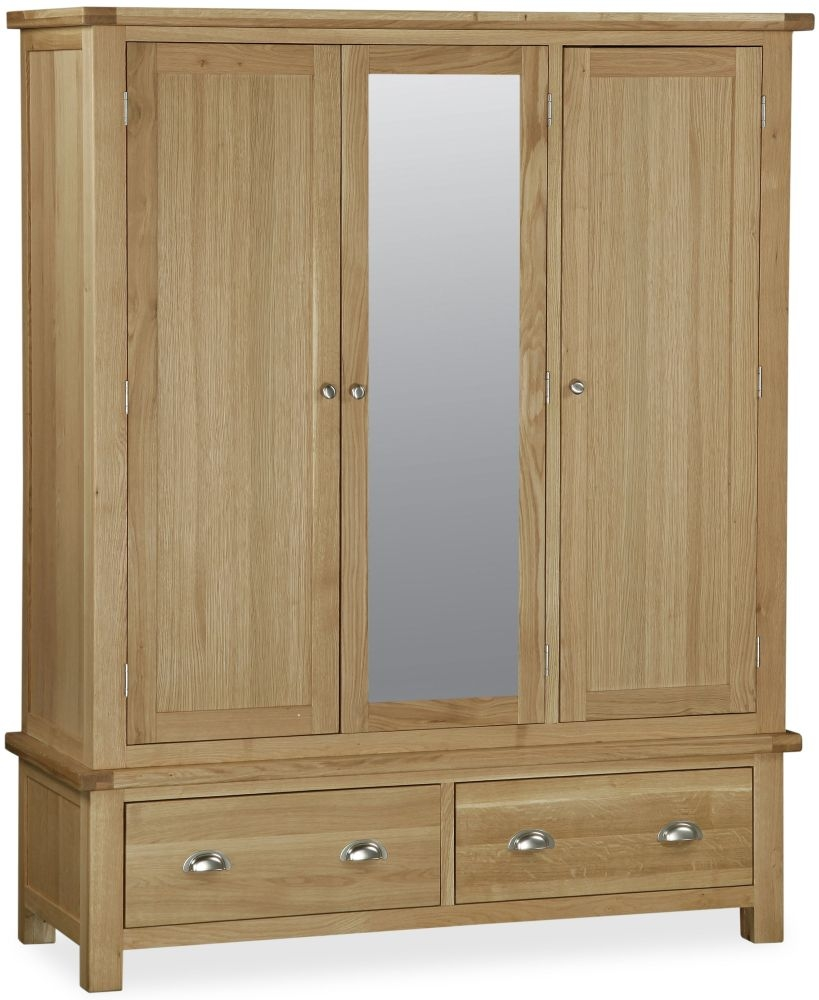 Global Home Cheltenham Oak Triple with Midle Mirror Wardrobe - 3 Door 2 Drawer