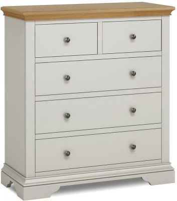 Global Home Chester Oak and Soft Grey Painted 3+2 Drawer Chest
