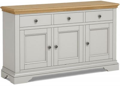 Global Home Chester Oak and Soft Grey Painted Large Sideboard