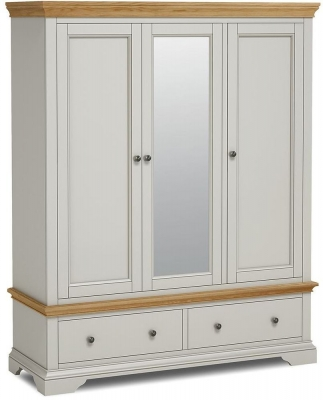 Global Home Chester Oak and Soft Grey Painted 3 Door 2 Drawer Wardrobe