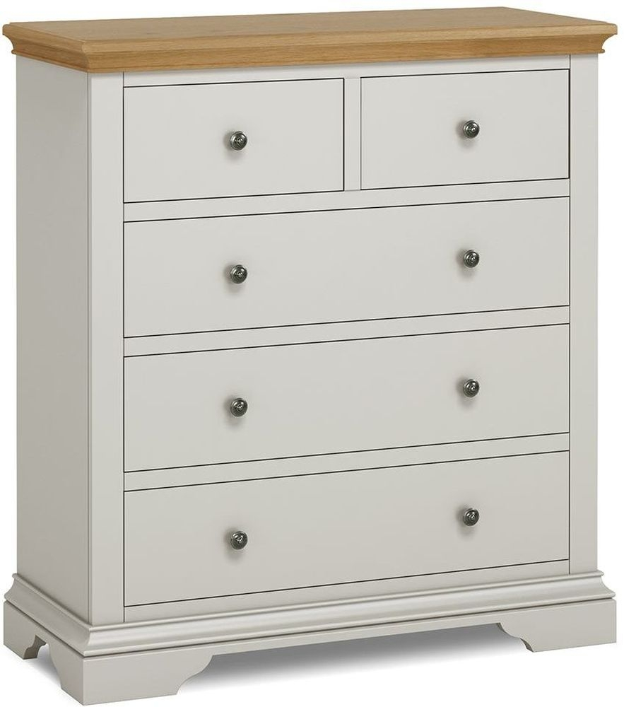 Global Home Chester 3+2 Drawer Chest - Oak and Soft Grey Painted