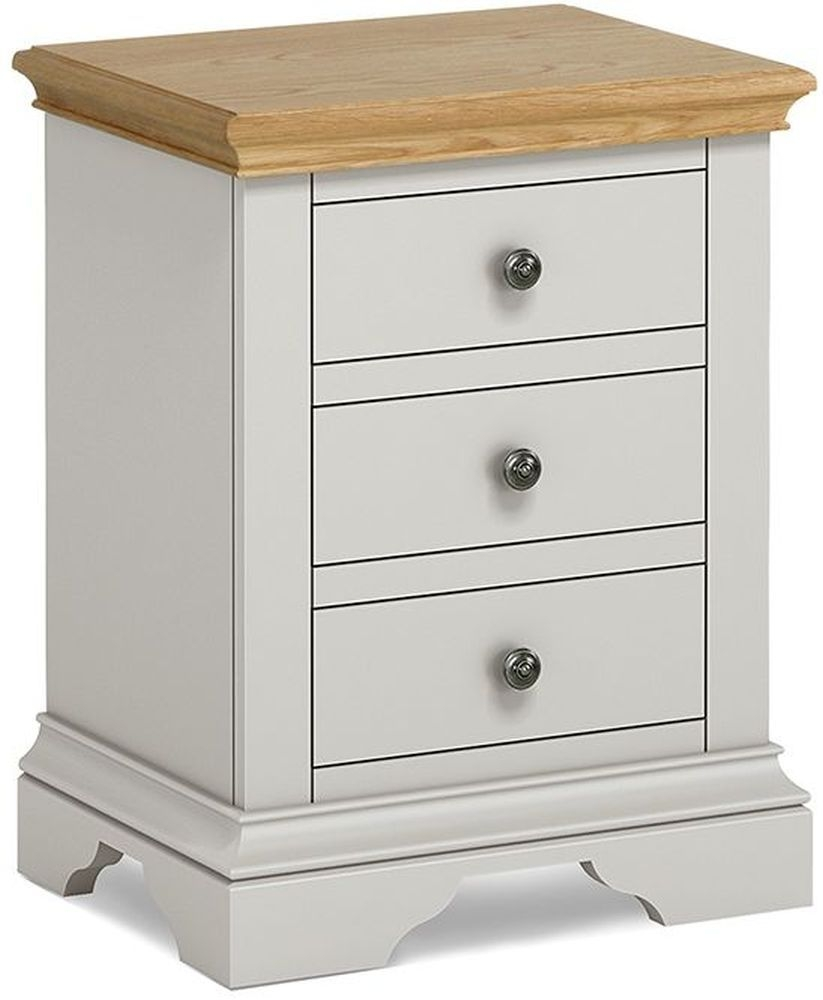 Global Home Chester Bedside Cabinet - Oak and Soft Grey Painted