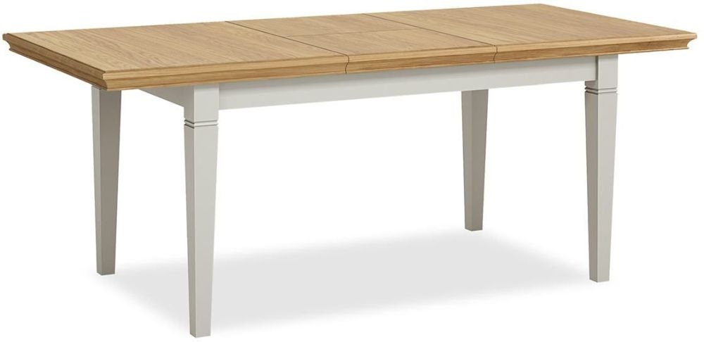 Global Home Chester Small Butterfly Extending Dining Table - Oak and Soft Grey Painted