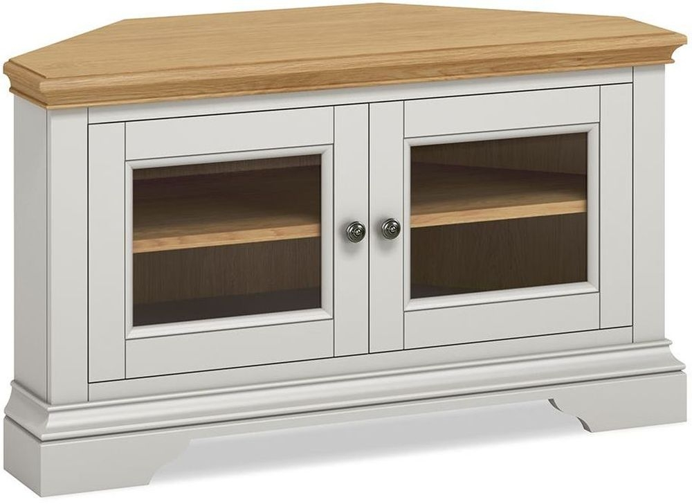 Global Home Chester Corner TV Unit - Oak and Soft Grey Painted