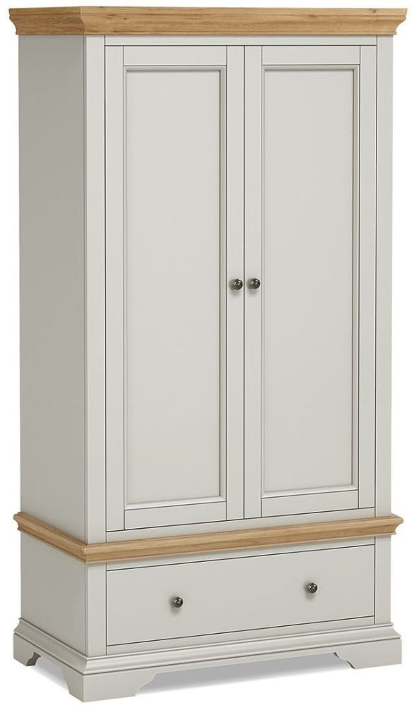 Global Home Chester 2 Door 1 Drawer Wardrobe - Oak and Soft Grey Painted